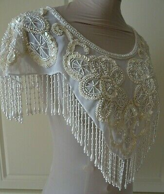 Vintage 1980'S Art Deco Style Cream Embellished Cape/Dress Cover