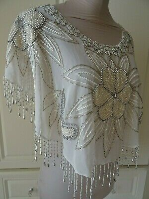 VINTAGE 1980's ART DECO STYLE CREAM BEADED CHIFFON CAPE/DRESS COVER