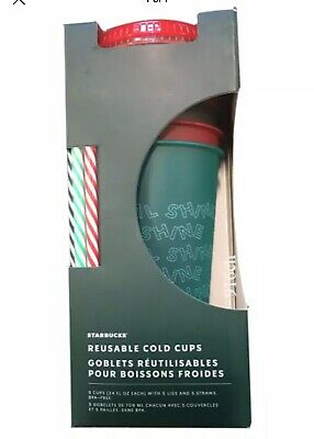 Starbucks 2019 Holiday Christmas Reusable Cold Cups With Straws 24oz 5 Pack NIB