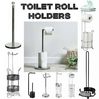 Wall Mounted Or Free Standing Toilet Paper Tissue Chrome Storage Holder Stand