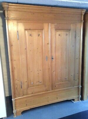 Early 1900's Antique Belgium Armoire Pine Wardrobe
