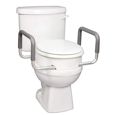 """Carex Raised Toilet Seat With Handles - For Standard Elongated Toilets Adds 3.5"""""""