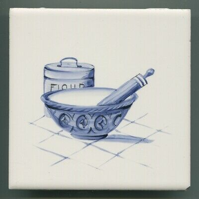"""Hand painted 6""""sq  tile from """"The Kitchen"""" series by Packard & Ord, 1964"""