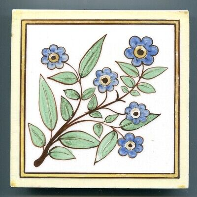 """Hand painted 6""""sq Victorian tile by Minton, Hollins or WB Simpson, c1890"""