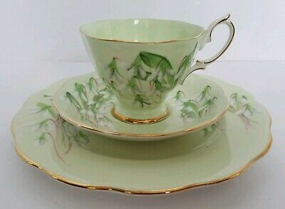 "Royal Albert Laurentian Snowdrop Trio Cup & Saucer, 8"" Plate Pale Green"