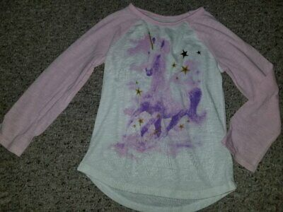 JUMPING BEANS Pink and White UNICORN Long Sleeved Top Girls Size 5