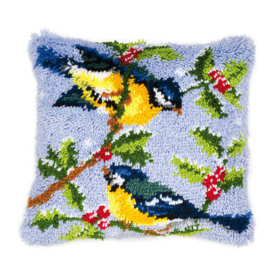 VERVACO|Latch Hook Kit: Cushion: Winter Scene Blue Tits|PN-0014147