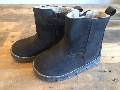 NWT BABY GAP BOY/'S BROWN SHERPA LINED LEATHER BOOTIES