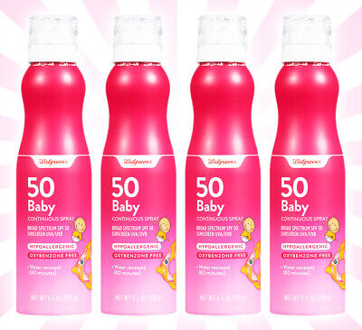 4 Walgreens Baby Sunscreen Continuous Spray Broad Spectrum SPF 50 6.3 OZ