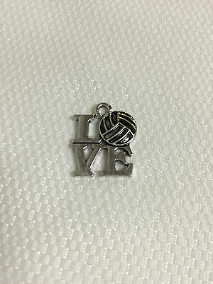 I LOVE VOLLEYBALL / Pendant / Silver Tone / Charm / Cute Team Gift