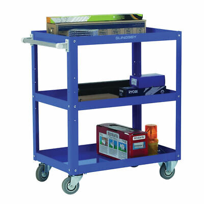 NEW! Works 3-Tier Trolley Blue W500 x D820 x H900mm 150kg Capacity 329946