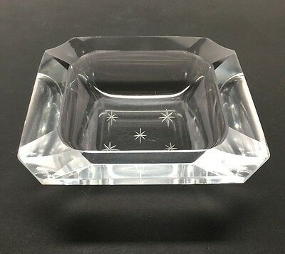 Vtg PRISM CUT CRYSTAL GLASS ASHTRAY - Square, Atomic Cut Star, Early-Mid Century