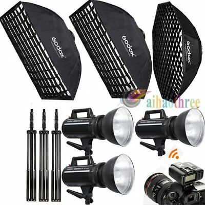 3Pcs Godox GS300II 300W 2.4G Wireless Strobe Flash Light Softbox Trigger Stand