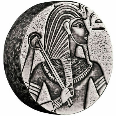2016 5 oz Republic of Chad Egyptian Relic Series King Tut Silver Coin Antiqued!