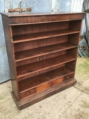 "43 5/8"" Salvaged Antique Old Mahogany 4ft 2in Dark Veneered Four Shelf Bookcase"
