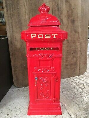 1m High Heavy Cast Iron Red Pillar Post Box Letterbox Mailbox Gold Text