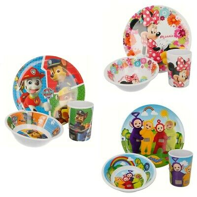 Character Kids 3 Piece Dinnerware Breakfast Lunch Set Plate Bowl Cup Tumbler