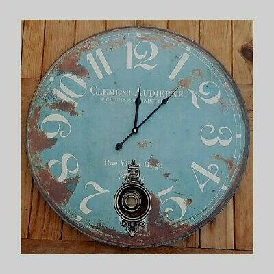 Large Shabby Chic Round Wooden Blue Pendulum Wall Clock 58cm