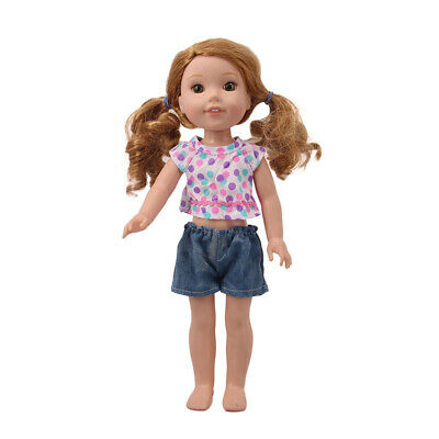 "Handmade Accessories Fits 18"" Inch American Girl Doll T-Shirt Shorts Two-Piece"