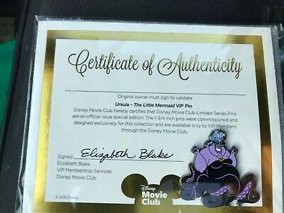 Disney VIP Pin Certificate of Authenticity-Ursula - The Little Mermaid