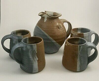 Thomas Fetter MCM 5Pc Set- Pitcher 4 Mugs Handmade Stoneware Studio Pottery USA