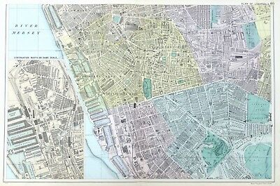 LIVERPOOL ( S.) - Original Antique Map / City Plan - BACON, 1912