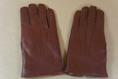 Vintage ex shop stock Morley men's brown leather gloves size 10 ( J )
