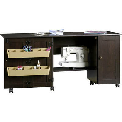 Sewing Machine Table Cabinet Desk Craft Wood Storage Bins Dresser with Drop Leaf