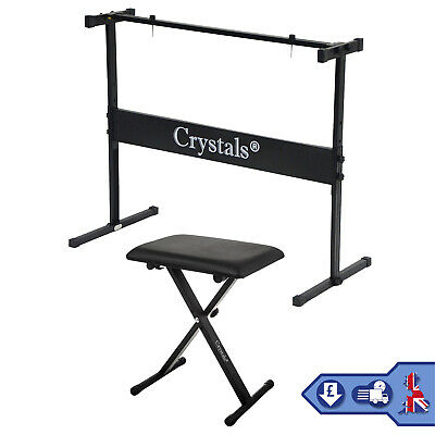 Height Adjustable Piano Stand & Stool Rectangular Frame Keyboard Stand Full Size