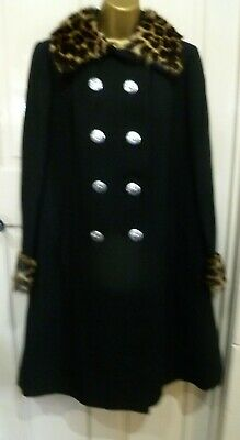 Vintage 1940S Julius Black All Wool Coat With Real Fur Collar + Cuffs Size 12-14