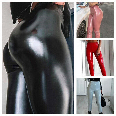 Womens Leggings PU Leather Pants Stretchy Skinny Pencil Trousers High Waisted