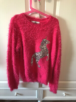 Marks & Spencer Girls Pink Sequin Unicorn Jumper Age 11-12 Years