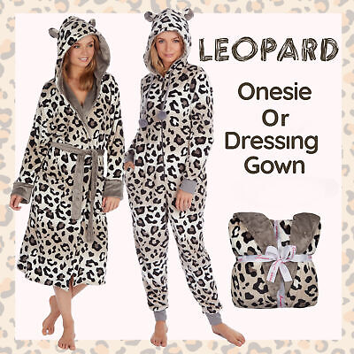** Ladies Womens Leopard Hood Dressing Gown Bath Robe 1Onesie Jumpsuit Playsuit