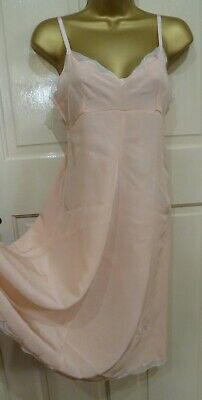 Vintage 1930S Gorgeous Peach 100% Silk Handmade Full Slip Pretty Lace Size 8-10