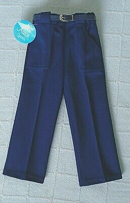 Vintage Boys Jersey Trousers - Age 2-3 Years approx -Navy-  Half Belt - New