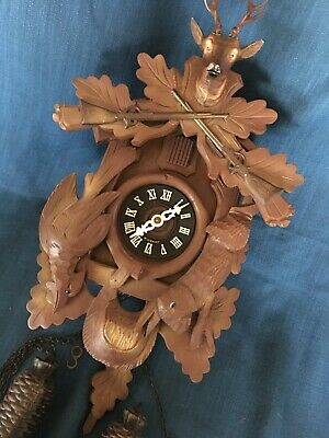Vintage Black Forest Hand Carved Hunter Style Cuckoo Clock 8-Day West Germany