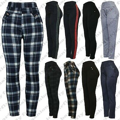 New Ladies High Waist Plus Check Size Skinny Fit Womens Stretch Jeggings Trouser