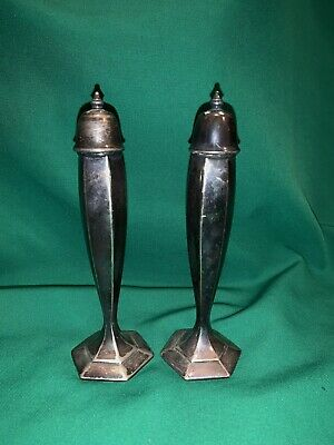 Vintage WB MFG Co Silver plate Salt and Pepper Shakers Tall Thin Slim Modern