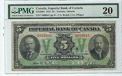 Canada - Imperial Bank of Canada 5 Dollars 1923 CH#375-18-04 PMG 20