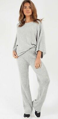Womens Ribbed Knit Loungewear Co-Ord Set