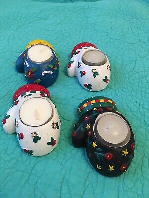 4 Mary Engelbreit Ceramic Christmas Mitten Tea Light Candle Holders