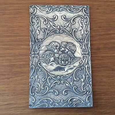 Antique Solid Silver Book Cover Featuring Reynolds Angels. Birm 1905