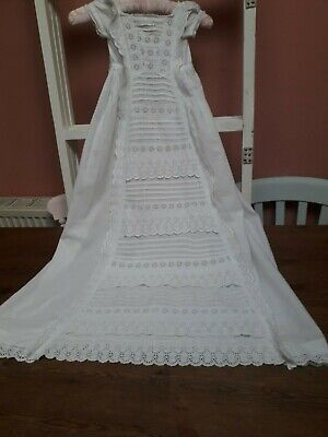 Antique Christening Gown Vintage Baby Dress Embroidery White Cotton Tiers