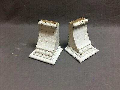 Small Pair Beaded Antique Wood Corbels Shabby Cottage Chic Vintage 41-19B