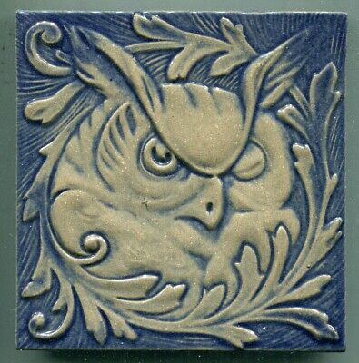 """Relief moulded 6""""sq stoneware tile by Summitville Tiles, USA, 1993"""