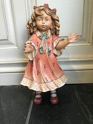 Vtg DOLFI HAND CARVED WOODEN DOLL 10 1/2 INCH Hand Painted Italy WOW