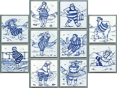 """Set of 10x6""""sq """"Edwardian Bathers"""" tiles by Tarquin Cole for Rye Tiles, 2000"""
