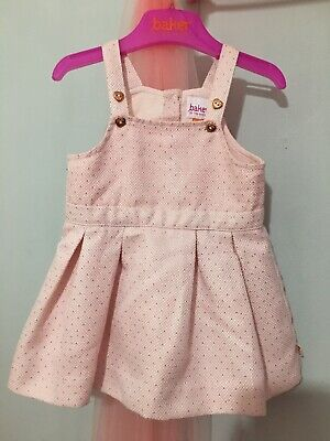 Baby Girls Designer Ted Baker Pink Gold Spotted Lined Pinafore Dress 3-6m 🎀🎀