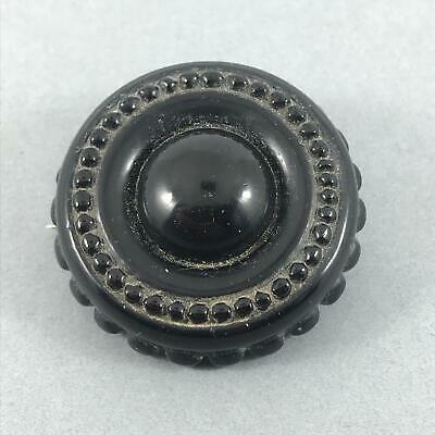 SUPERB Antique Hand Carved Large Victorian Whitby Jet Mourning Brooch - c1900