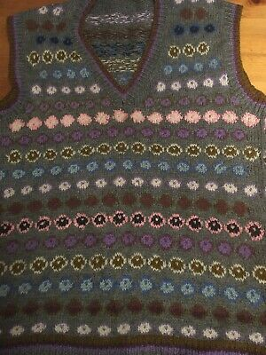 Vintage  Hand Knitted Fairisle Tank Top Size S - Ditsy Vintage
